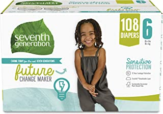 product image for Seventh Generation Baby Diapers, Size 6, 108 count, One Month Supply, for Sensitive Skin
