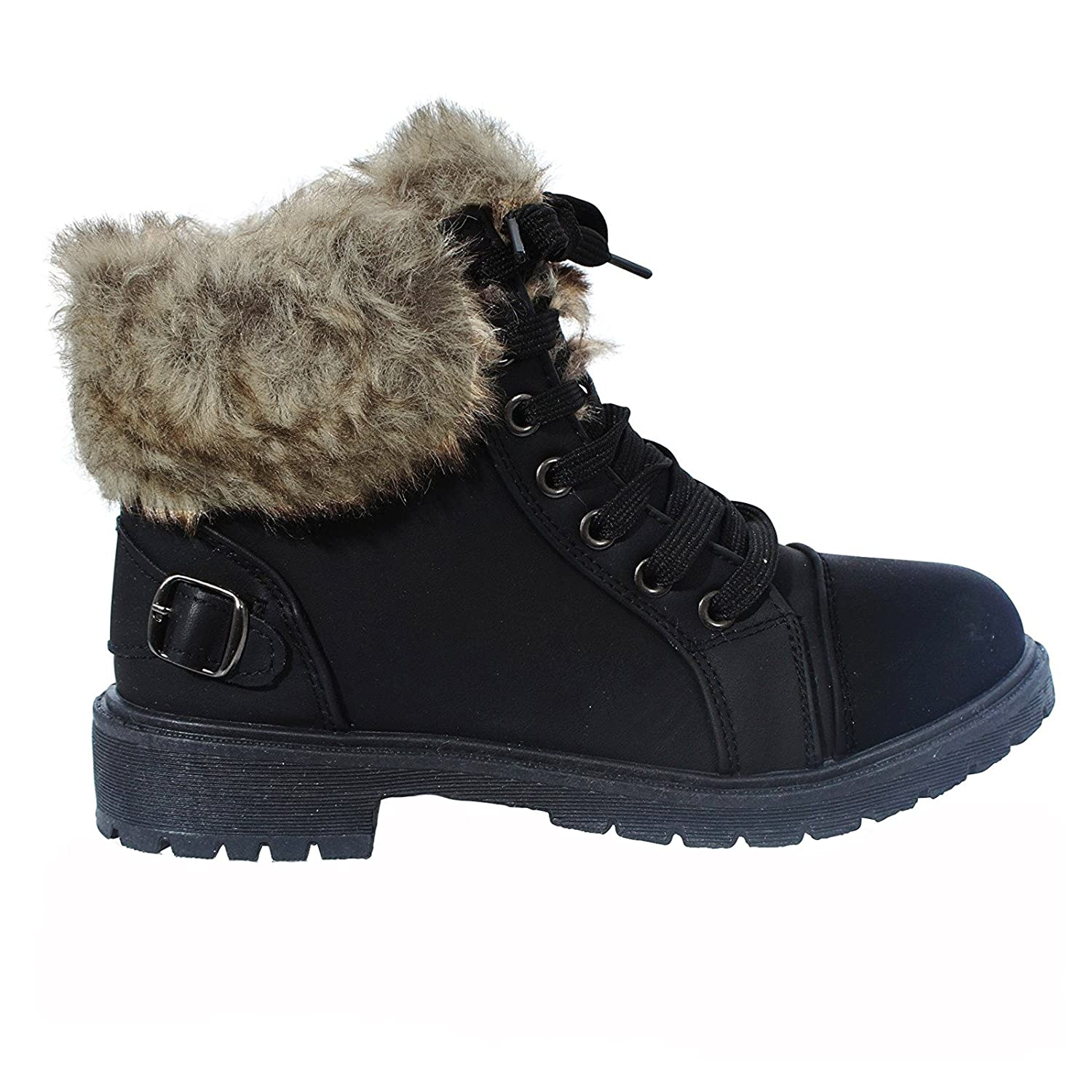 93c69133d06 WOMENS FAUX FUR ANKLE BOOTS LADIES LACE UP COLLAR FUR LINED WINTER WARM LADIES  ANKLE BOOT TRAINER SIZE 3-8  Amazon.co.uk  Shoes   Bags