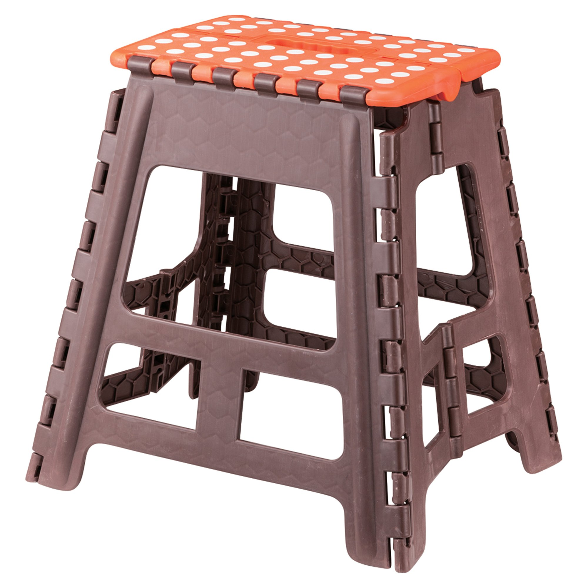AZUMAYA Folding Step Stool Brown 15.4'' High FKF-622OR