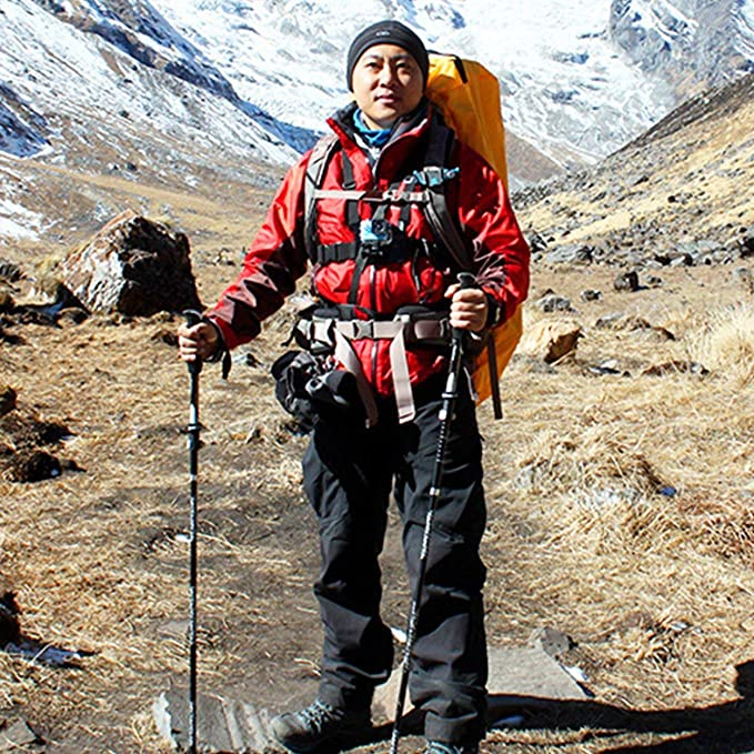 Lorenlli Fit KORAMAN Multifuncional Ligero Bast/ón para Caminar Telesc/ópico Plegable Antideslizante Bast/ón para Caminar Trekking Bast/ón de Escalada