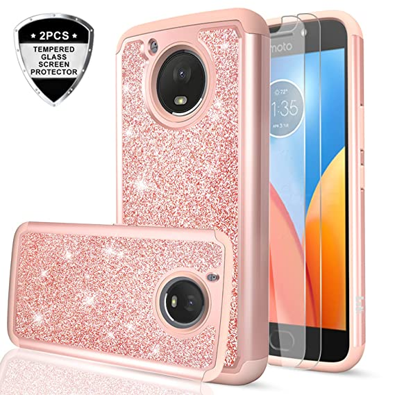 the best attitude cdfd7 d4ae7 Moto E4 Plus Case (USA Version) (Not fit Moto E4) with Tempered Glass  Screen Protector [2 Pack],LeYi Glitter Bling Girls Women Heavy Duty Phone  Case ...