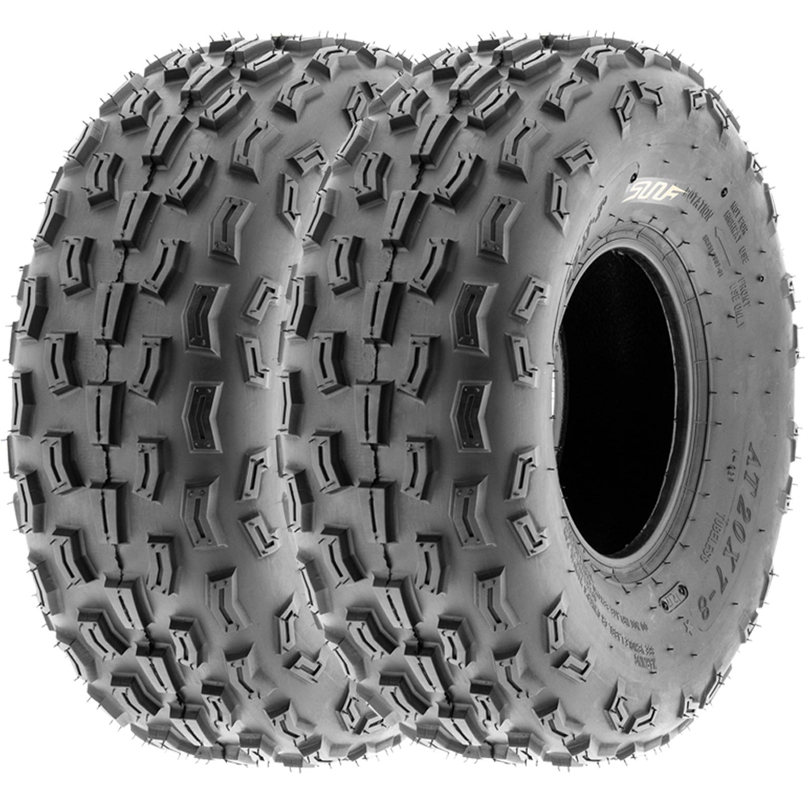 SunF 20x7-8 20x7x8 ATV UTV A/T Knobby Race Replacement 6 PR Tubeless Tires A029, [Set of 2]