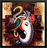 SAF 'Ganesha' Framed Painting (Wood, 30 cm x 3 cm x 30 cm, Special Effect Textured)
