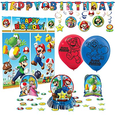 Super Mario Bros Premium Birthday Party Pack Decoration Kit Childrens: Toys & Games