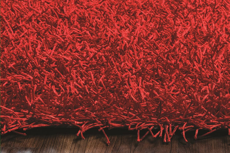 Kempton polyester area rug burgundy merlot colored 3 x3 area rugs - Amazon Com Riz Kidz Kempton Shag Rug Lipstick Red 8 X 10 Kitchen Dining