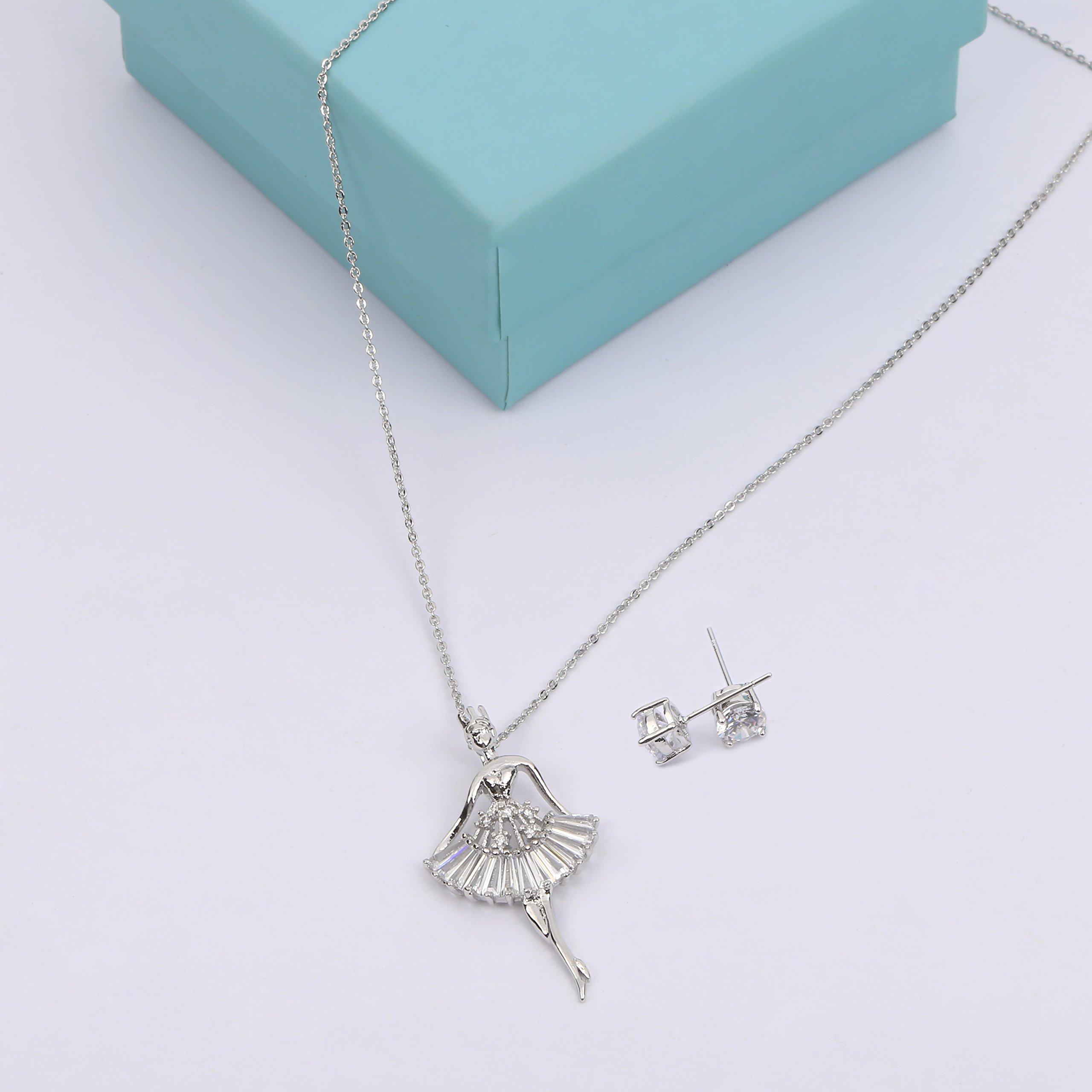MYKEA Elegant Jewelry Set for Women 18K White Gold Ballerina Girl Pendant Necklace with Cubic Zirconia Stud Earrings for Teen Girls Jewelry by MYKEA (Image #2)