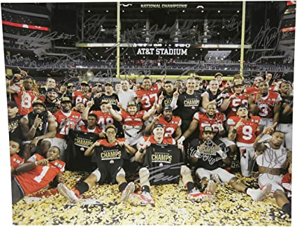 Ohio State 2014 National Championship Autographed Signed 16x20 Photo Ohio State Buckeyes Certified Authentic