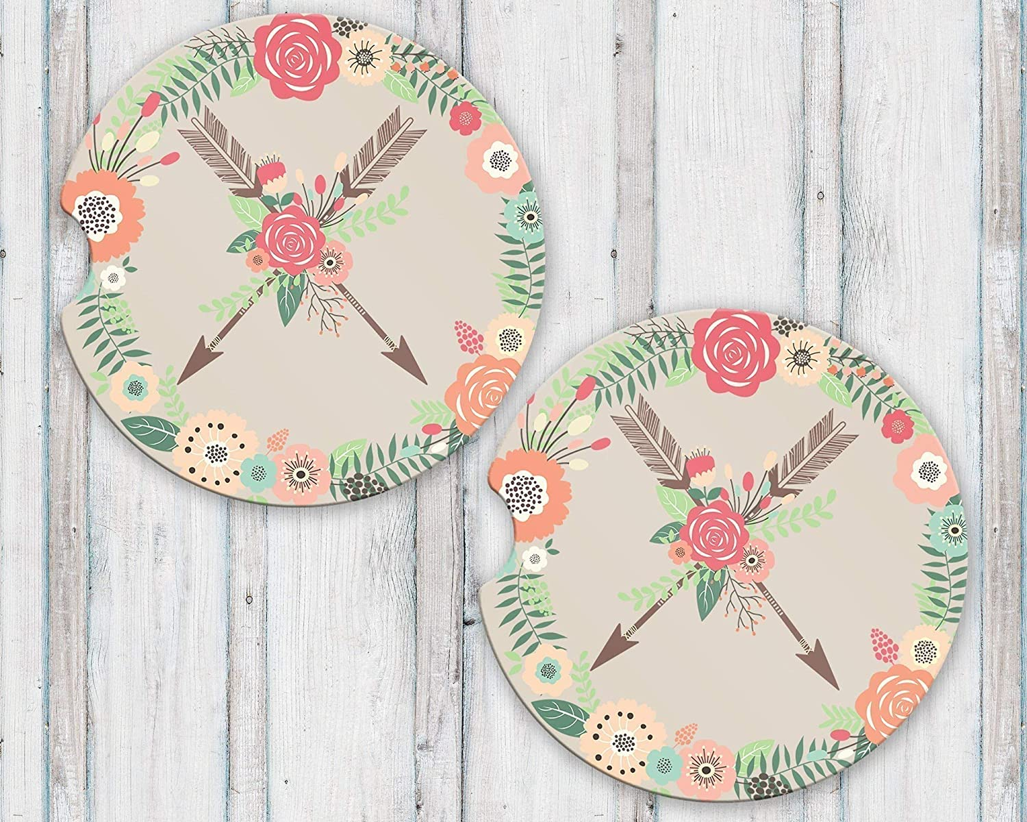 Crossed Arrows Sandstone Car Coasters Boho Floral Wreath Flower Arrow Tribal Set of 2