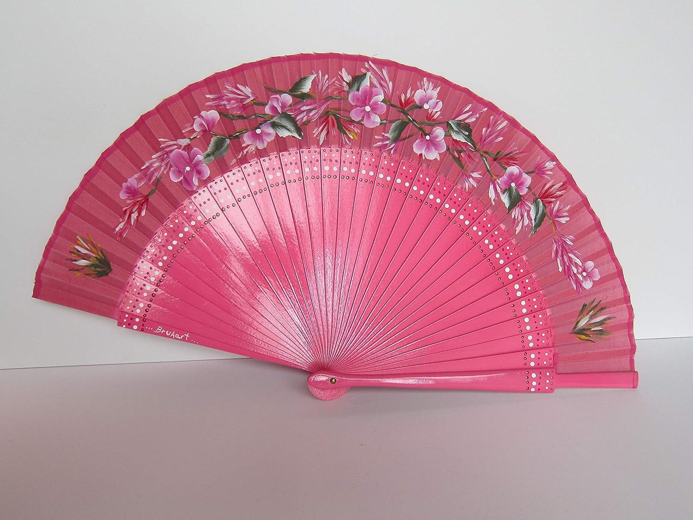 Abanico Español color rosa de madera y tela pintado a mano con margaritas y hojas. Base comprada en la prestigiosa Casa de Diego de Madrid. Exclusivo.: Amazon.es: Handmade
