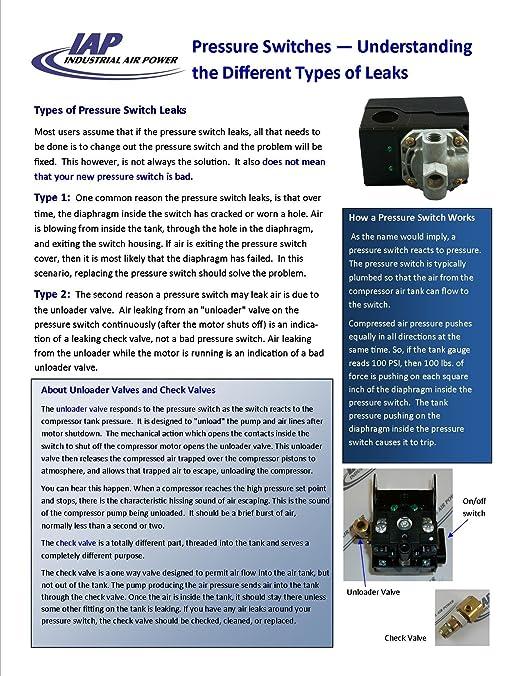 1091-0394-01 Pressure Switch designed for use with Atlas Copco Compressors: Amazon.com: Industrial & Scientific