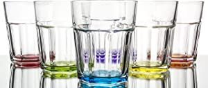 Rainbow Illusion Modern Colored Water/Beverage Glasses 6-Piece Set, 10.25 Ounce