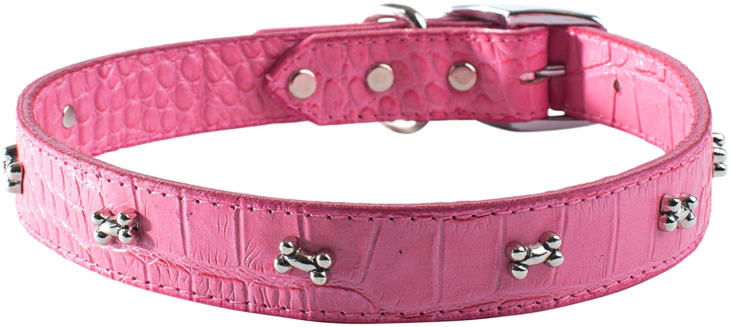 OmniPet Faux Crocodile Signature Leather Pet Collar with Bone Ornaments, Pink, 1 by 24