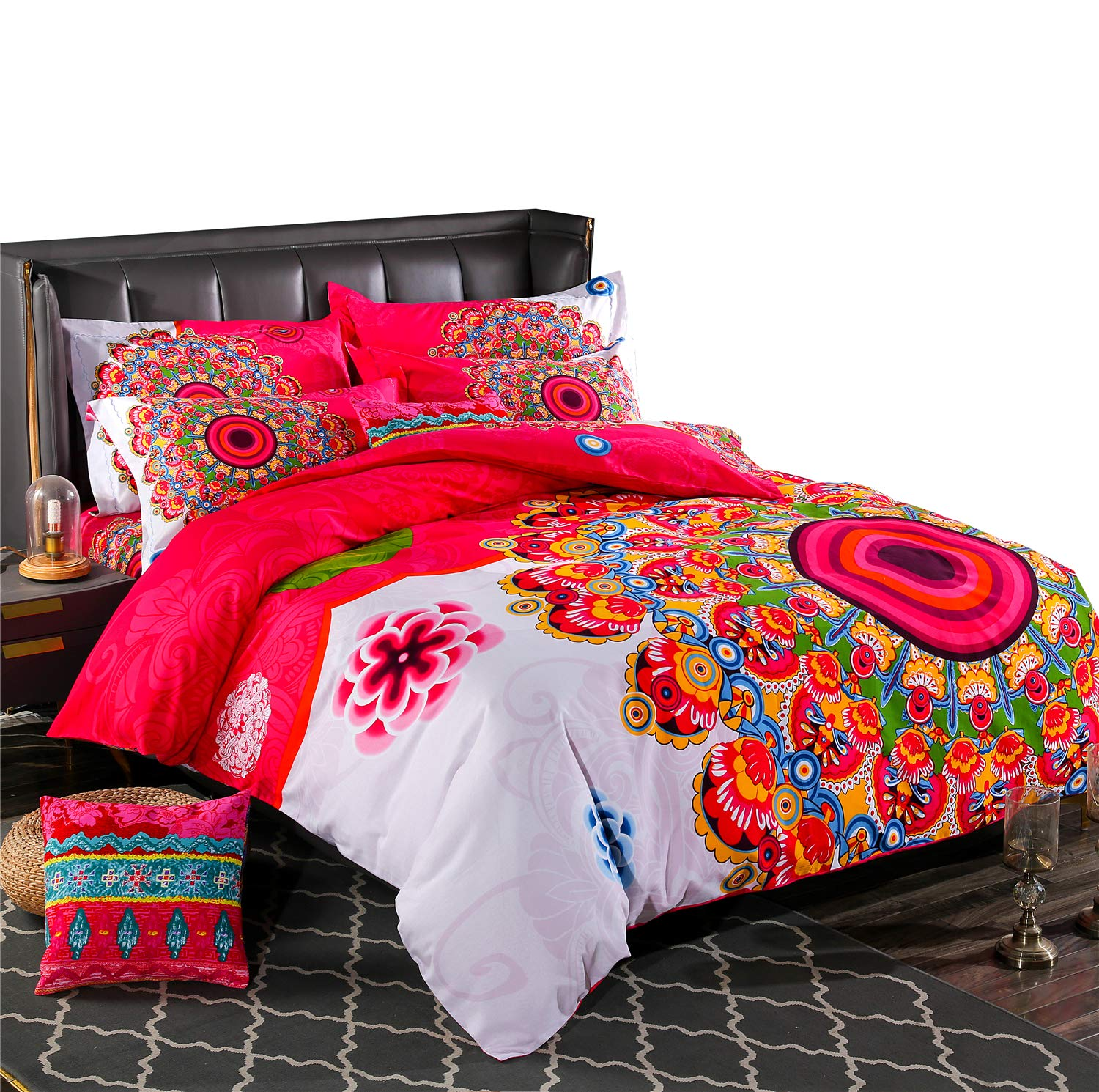 LELVA Bohemia Bedding California King Ethnic Vintage Floral Duvet Cover with Fitted Sheet 100% Brushed Cotton Boho Bedspread Romantic Bedclothes 4Pcs