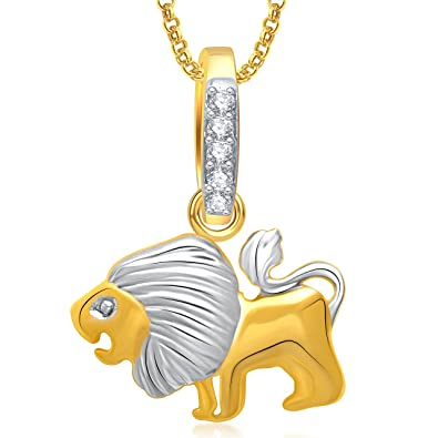 Buy Valentine Gifts MEENAZ Lion Locket Pendant Gold Animal