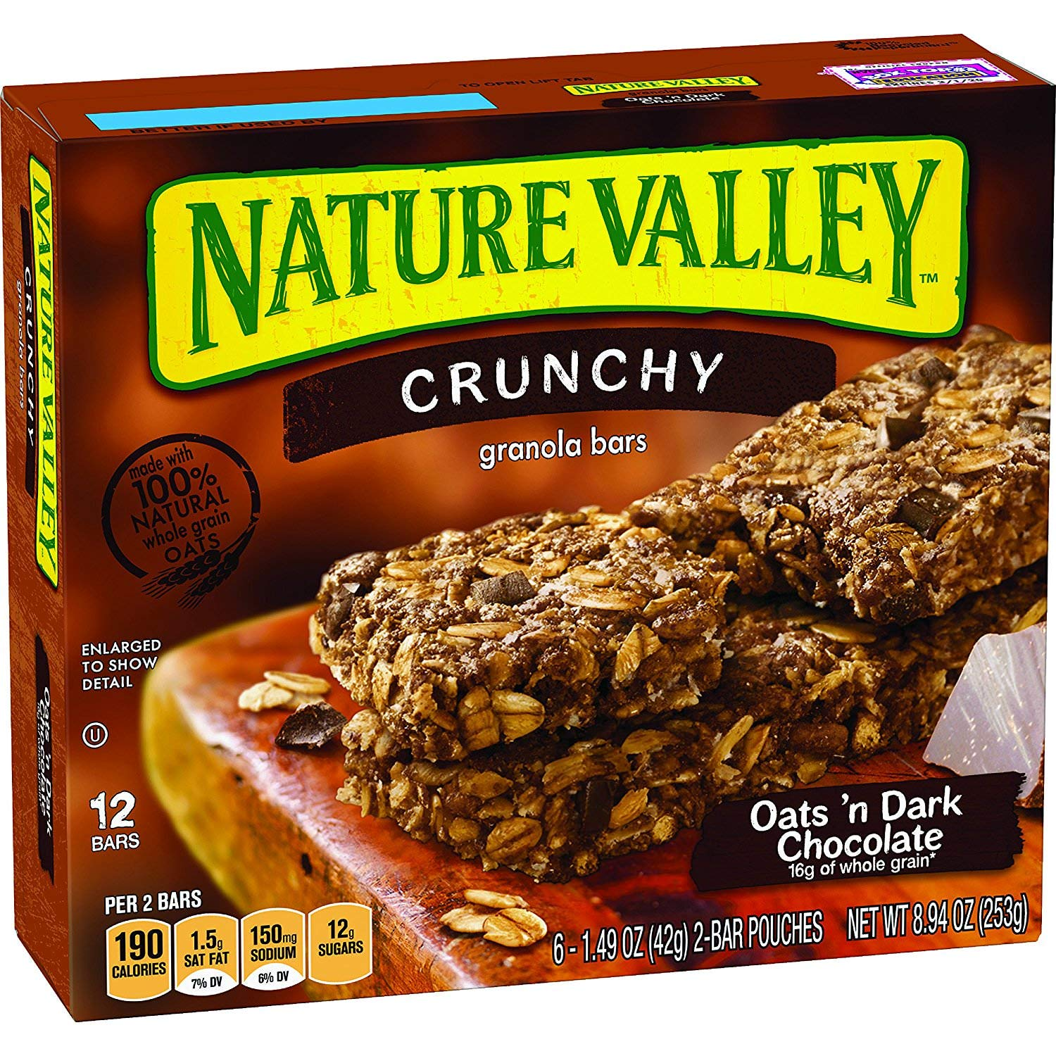 Nature Valley Granola Bars, Crunchy, Oats and Dark Chocolate, 12 Bars (30 Boxes)