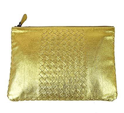Amazon.com  Bottega Veneta Women s Gold Leather Woven Clutch Bag ... c24af8d524