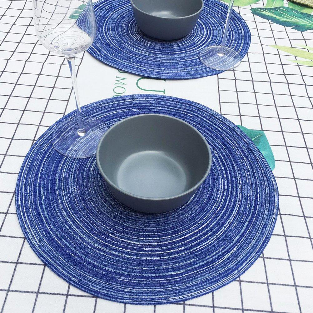 YeahiBaby Manteles Individuales de Mesa Redondo Resistentes al Calor Antideslizantes para Hogar Restaurante 35 CM Azul