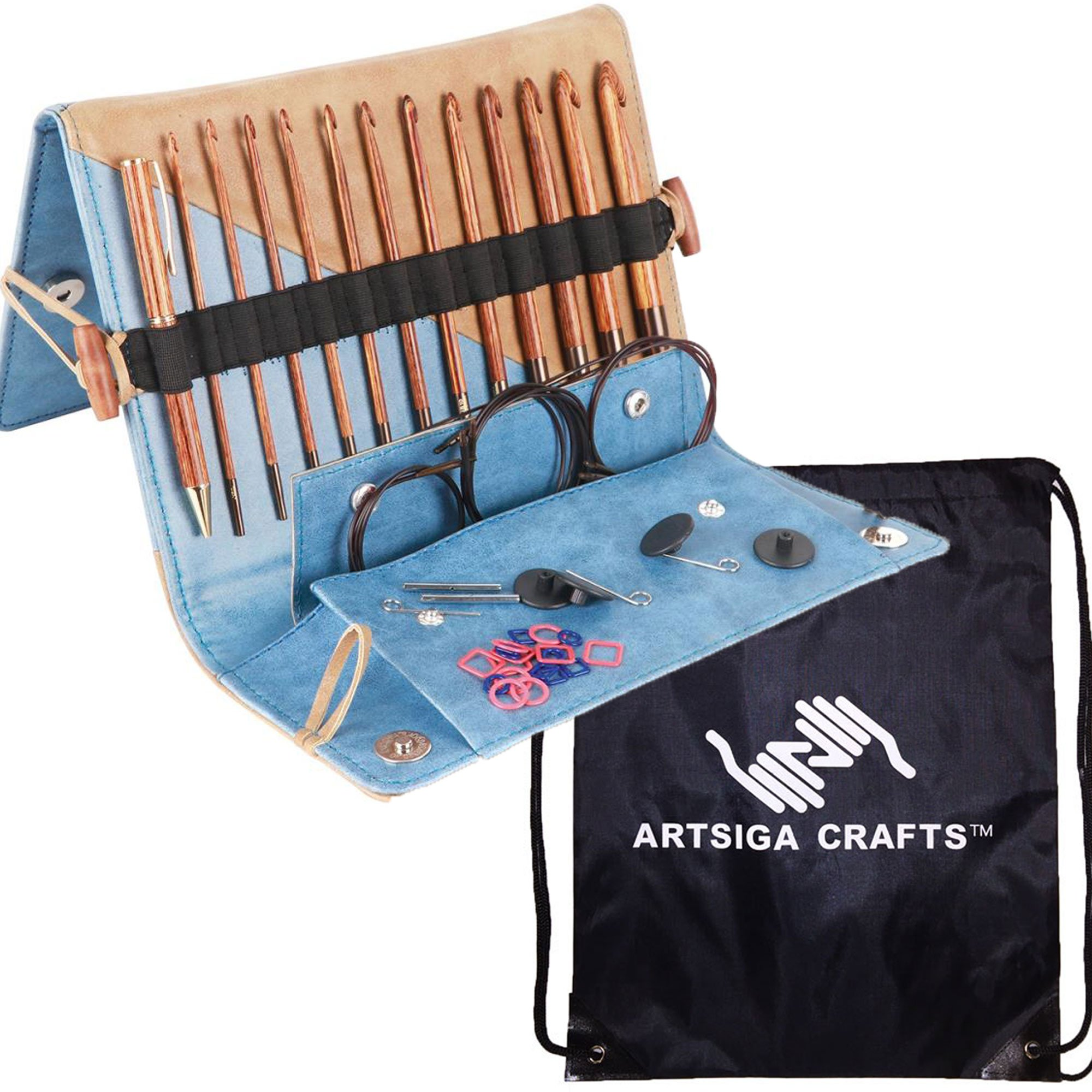 Knitter's Pride Knitting Needles Tunisian Crochet Hook Ginger Set Bundle with 1 Artsiga Crafts Project Bag