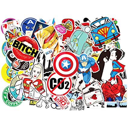 Eposeedor 50 Pegatinas Coche Moto, Graffiti Stickers Coche en Vinilo, Pegatinas para Portáil, Maleta, Bicicleta, Guitarra, Casco Moto, Skateboard, ...