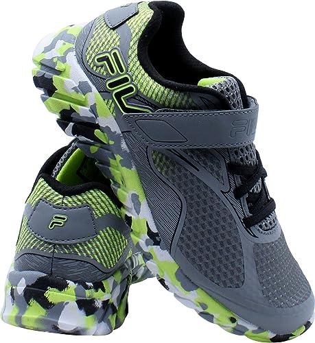 Fila Prime Force - Zapatillas de deporte con 4 correas para niños (niños pequeños), color gris y amarillo: Amazon.es: Zapatos y complementos