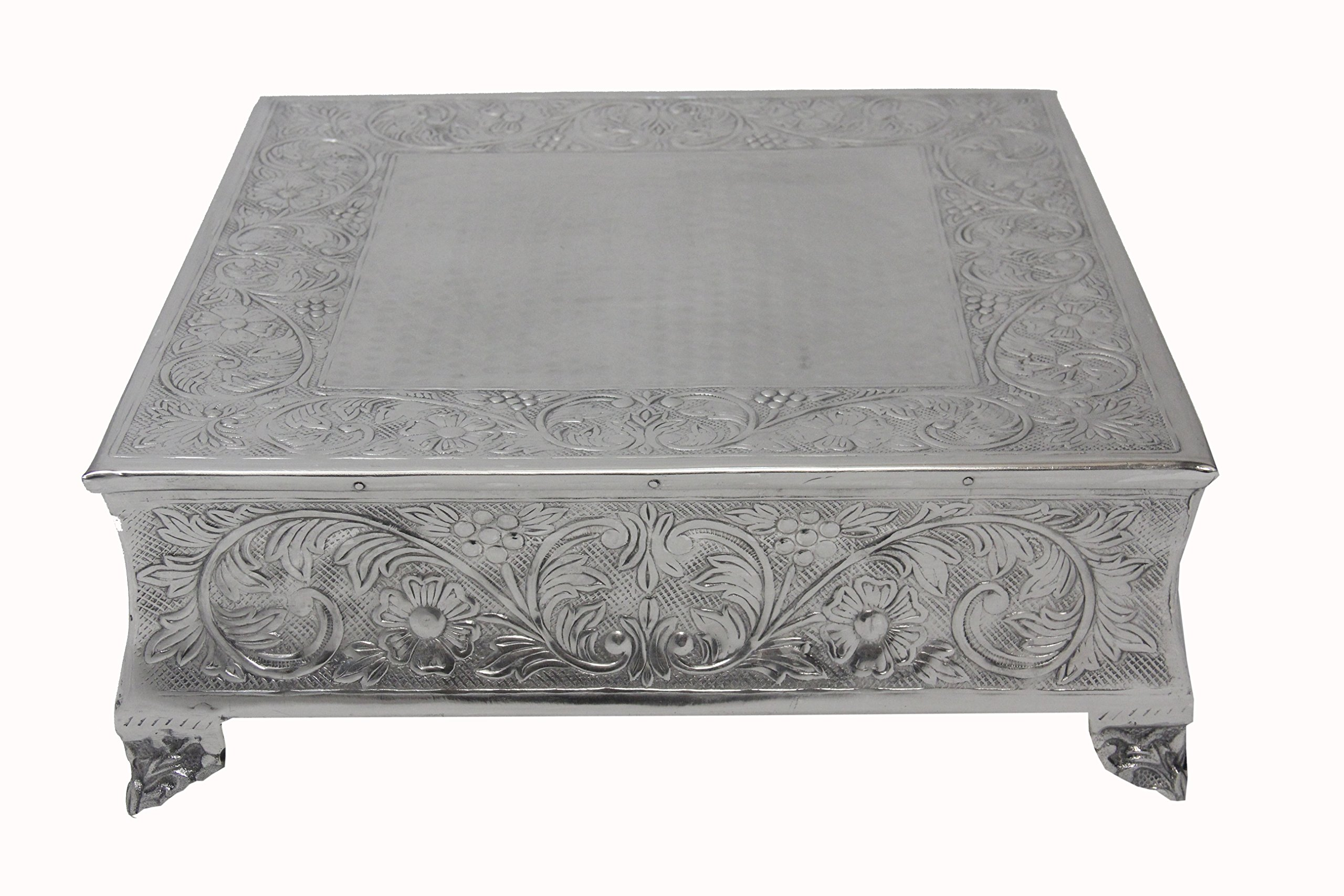GiftBay Creations 751-22S Wedding Square Cake Stand, 22-Inch, Silver by GiftBay Creations (Image #1)