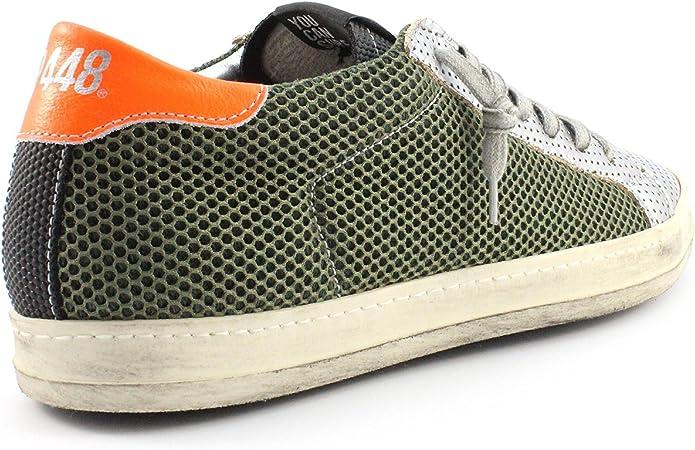 P448 | Sneaker E7John Silber | Army, Farbe:grün;Größe:46