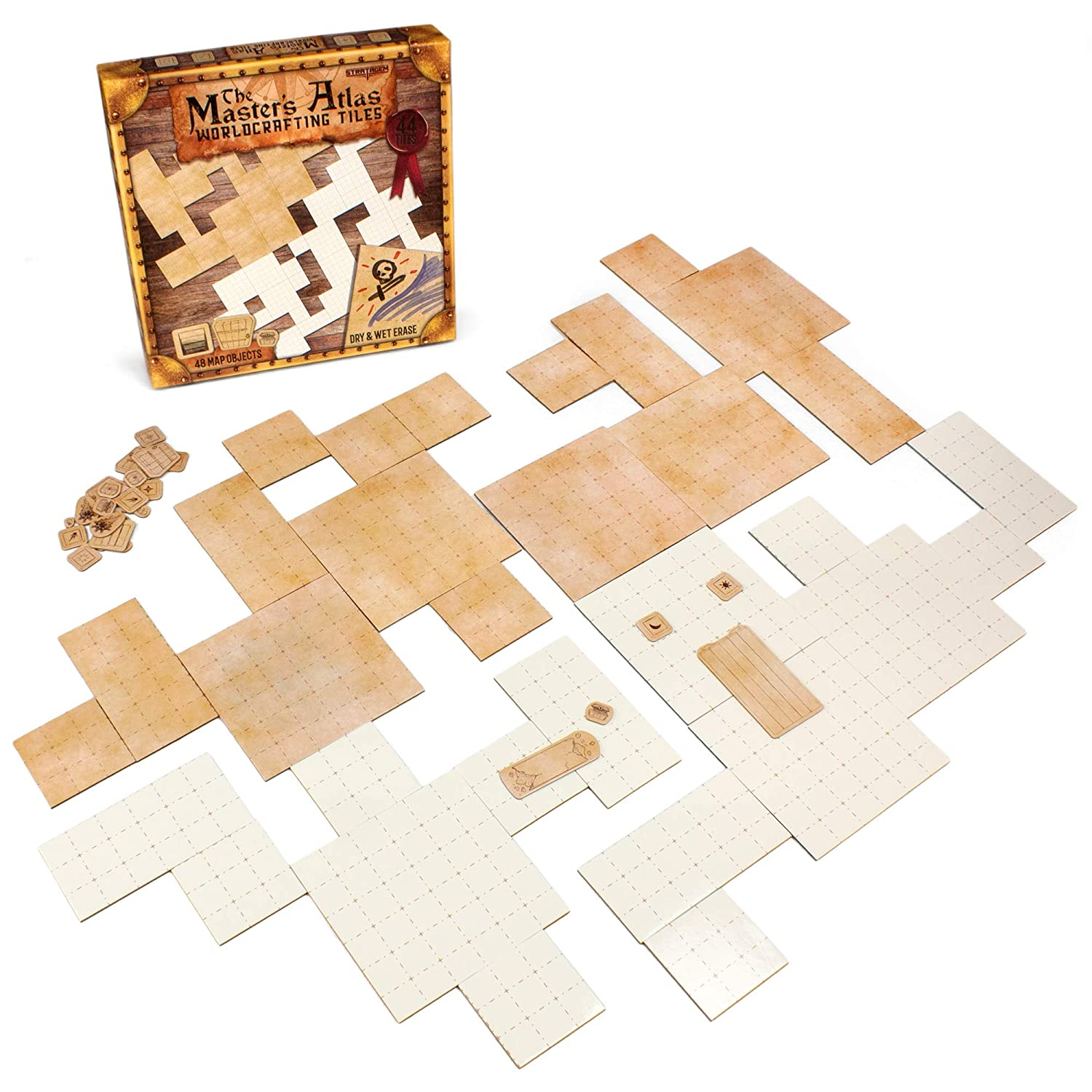 The Master's Atlas (Blank/Parchment) | 44 Reversible Dry & Wet Erase Map  Grid Tiles | 48 Dungeon Object Tokens: Treasure, Doors, Stairs and More |  RPG