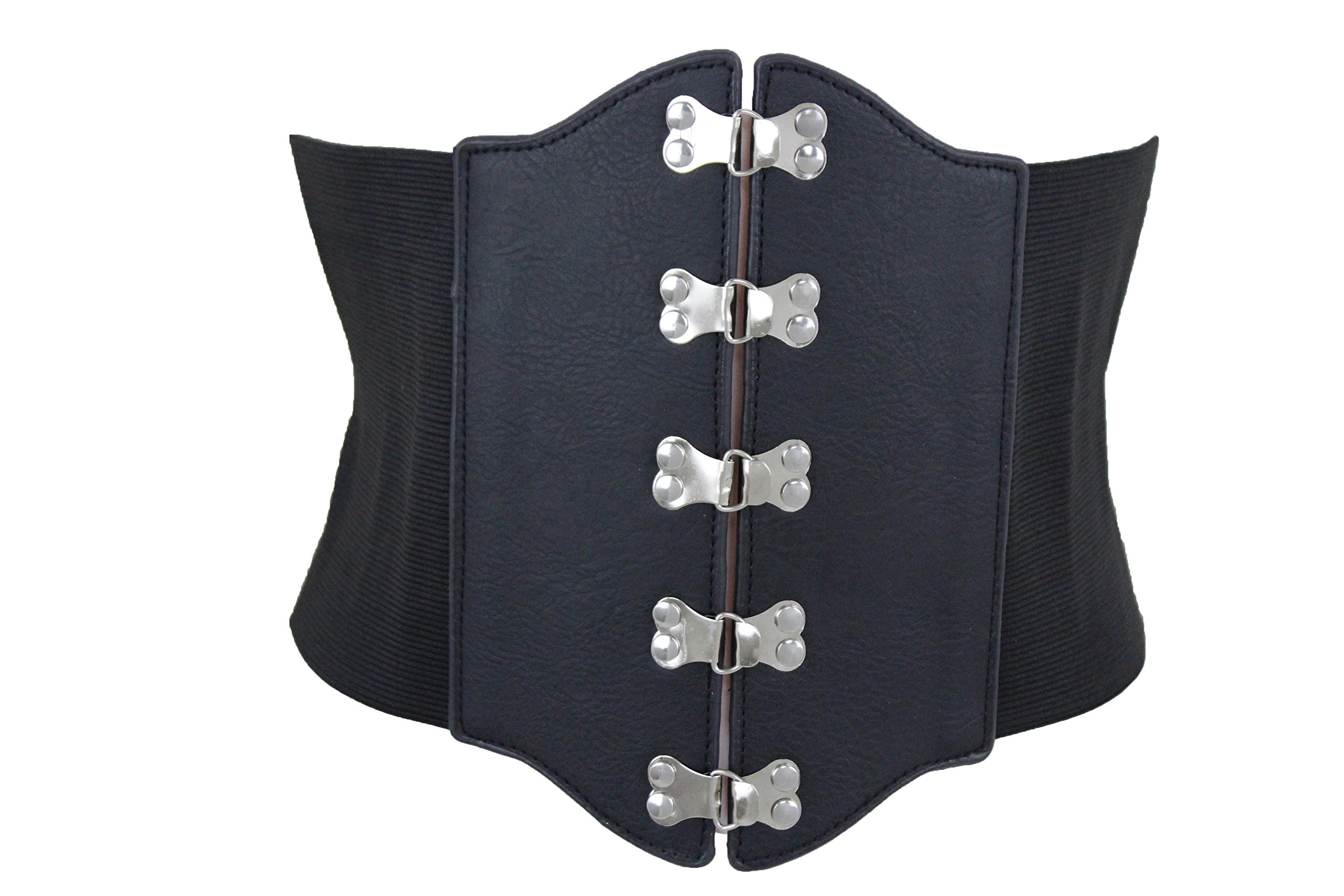 TFJ Women Elastic Extra Wide Fashion Corset Belt High Waist Plus Size M L XL Black