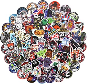 100PCS Star War Stickers Water Bottle Stickers Laptop Computer Bedroom Wardrobe Car Skateboard Motorcycle Bicycle Mobile Phone Luggage Guitar DIY Decal (Star war 100)