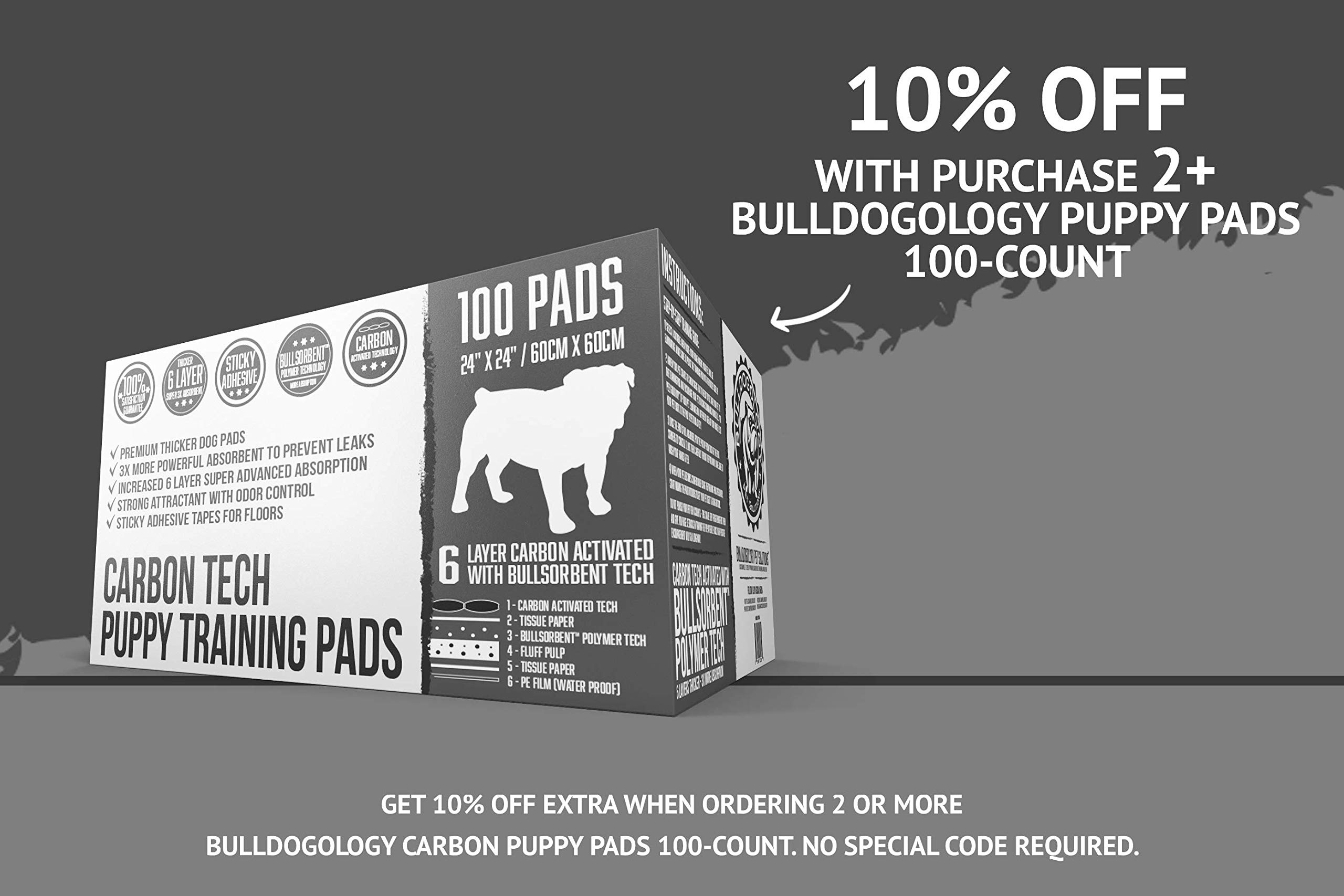 Bulldogology Carbon Black Puppy Pee Pads with Adhesive Sticky Tape - Large Dog Training Wee Pads - (24x24, 100-Count)