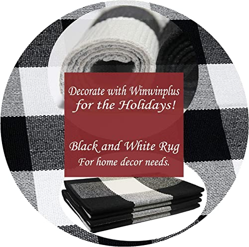 Winwinplus Buffalo Plaid Check Rug 27.5 x 43.3 Inches Washable Woven Outdoor Indoor Rugs for Welcome Doormat Layered Door Mats Porch Farmhouse Decor Rug