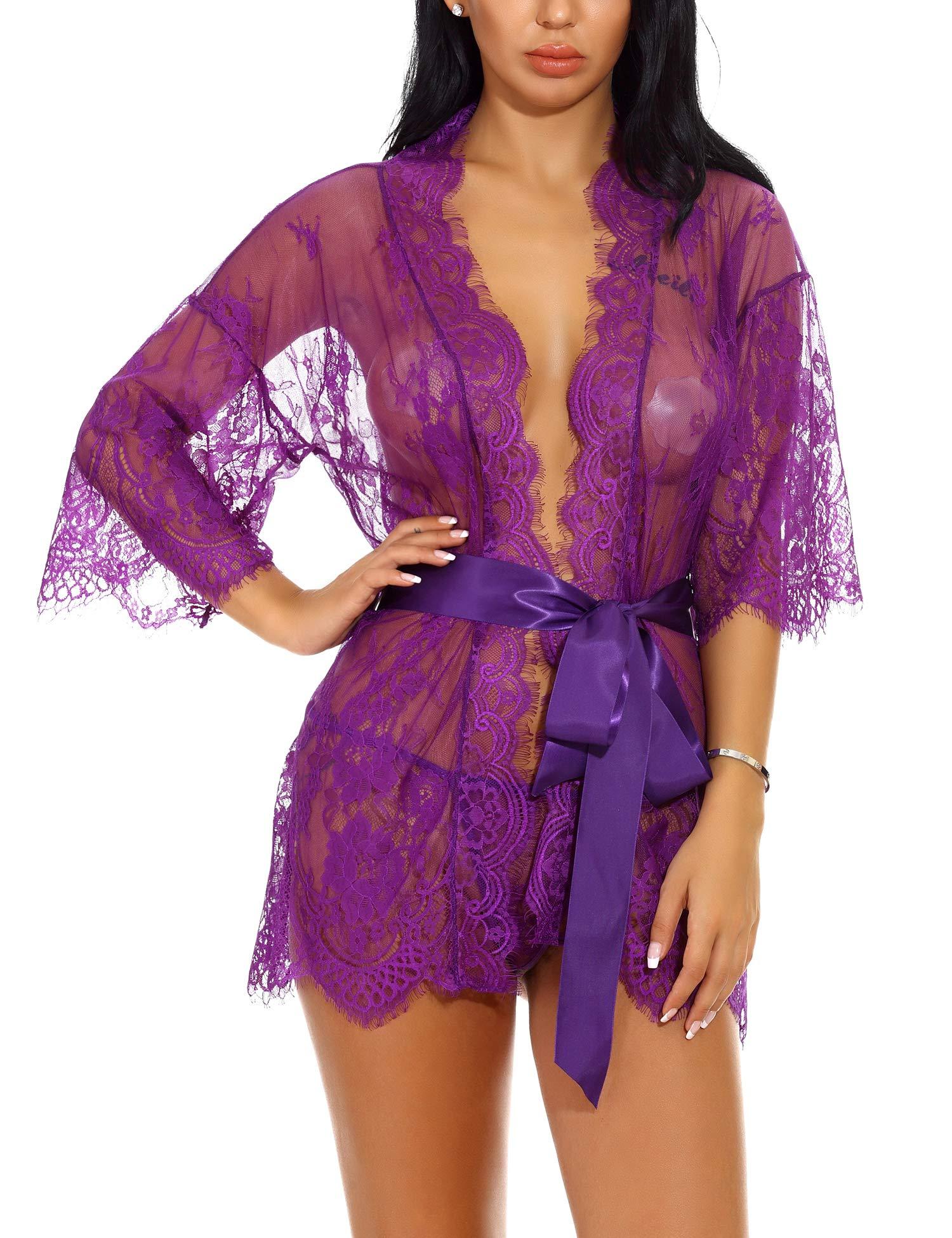 LOMON Lace Sleepwear Robe for Women Mesh Lingerie Coverup for Bridal Nightwear