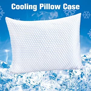"ZPECC Cooling Pillowcase - Hypoallergenic Cooling Pillow Cover for Hot Sleepers, Breathable Soft Q-Max 0.4 Ice Silk Pillow Protector with Hidden Zipper, Machine Washable, Queen 20"" x 30"""