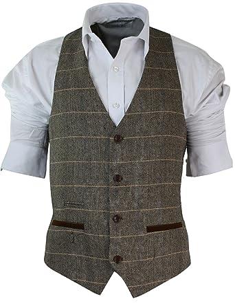 gilet homme vintage tweed carreaux et chevrons marron tan gris charbon coupe cintr e bordure. Black Bedroom Furniture Sets. Home Design Ideas