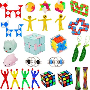 26 Pack Fidget Toys Set,relieve anxiety,Soothing Marble Fidgets,Squeeze Bean,Fidget Toy Chain,Magic Cube Infinity Cube Toy& More