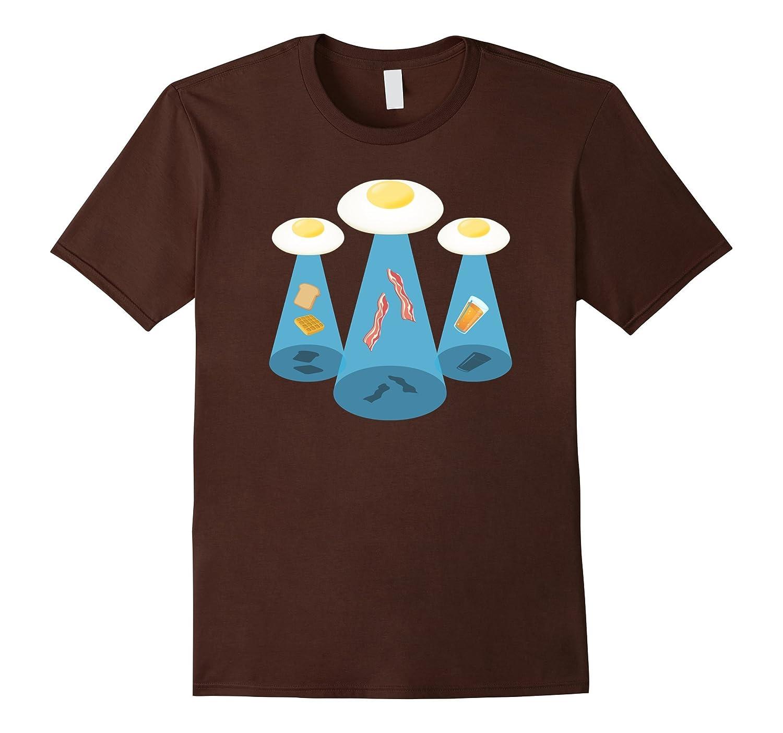 Alien Breakfast T-Shirt, Space UFO Breakfast Tee Apparel-T-Shirt