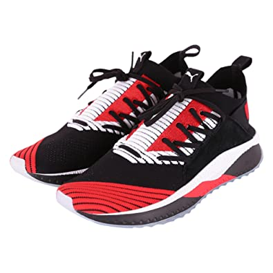 4a44cec641dc36 PUMA Tsugi JUN Cubism Men s Shoes In Black Fabric With Red and White  Details 365490-
