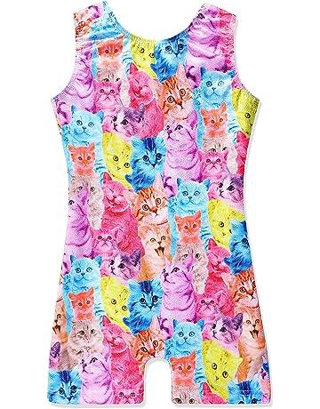 1f2202b63 Leotards for Girls Gymnastics Unicorn Sparkly Pink Biketards Stars Rainbow  Clouds