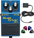 BOSS BD-2 Blues Driver Guitar Effects Pedal Bundle with Blucoil Power Supply Slim AC/DC Adapter for 9 Volt DC 670mA, and…