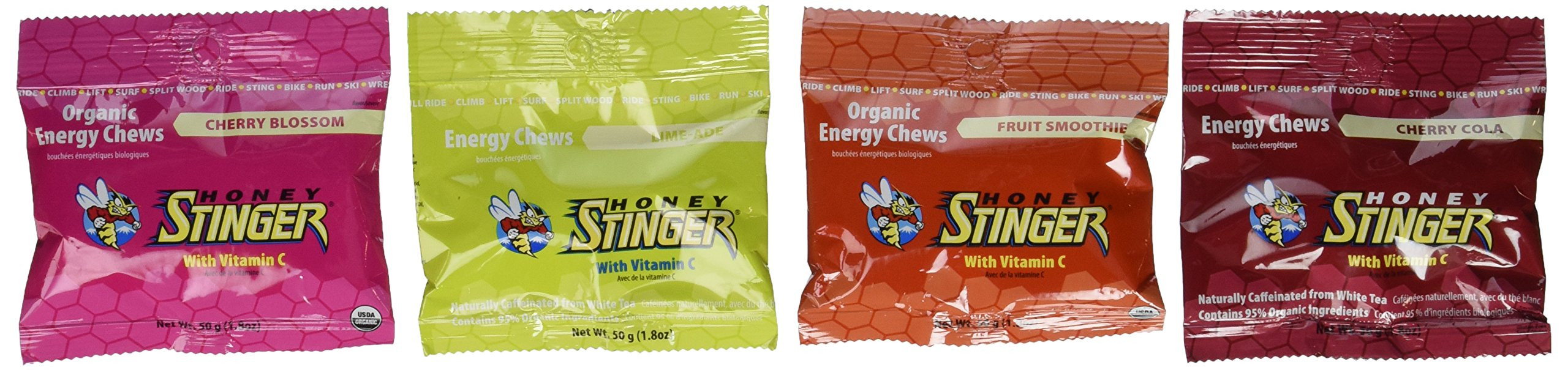 Honey Stinger Organic Energy Chews 4 Flavor Variety 1 Cherry Blossom, 1 Limeade - Caffeinated, 1 Cherry Cola - Caffeinated, 1 Fruit Smoothie (Cherry, Orange and Berry) (1.8 oz each, 4 count)