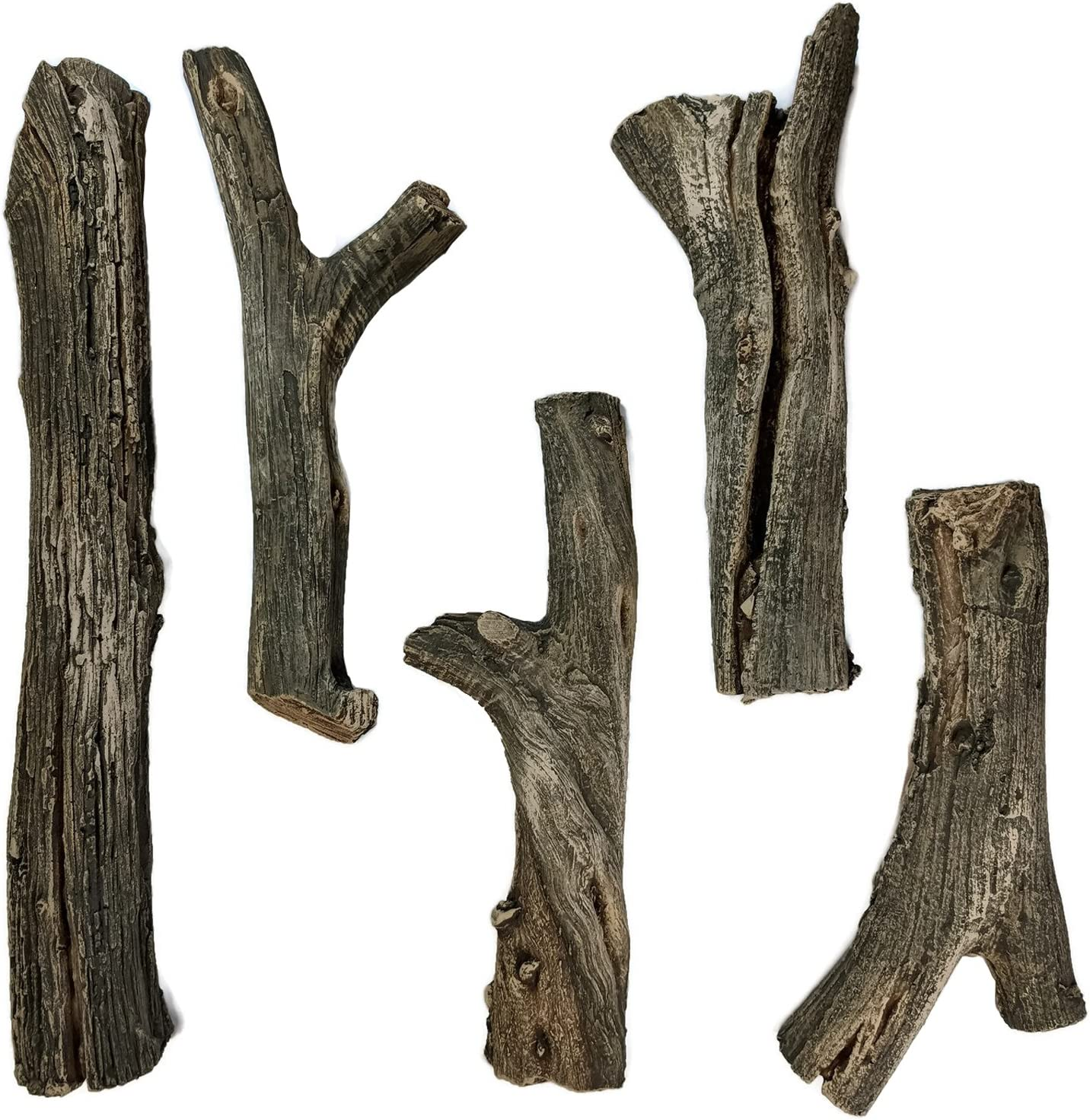 Midwest Hearth Deluxe Decorative Branch and Twig Set | Cast from Real Logs and Hand Painted in USA (Driftwood 5-Piece)