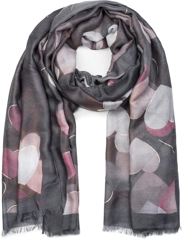styleBREAKER Sciarpa da donna con motivo a cuori e frange stola foulard 01017084 sciarpa invernale