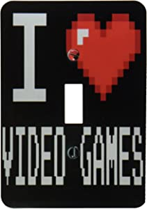 3dRose lsp_118950_1 Geeky Old School Pixelated Pixels 8-Bit I Heart I Love Video Games Light Switch Cover