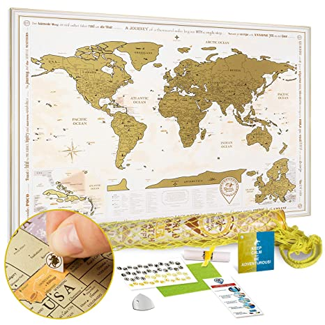 Discovery Map Scratch Off World Map Poster Gold - Large Detailed Scratch  Off Map of The World 35x25 - Premium Travel Map Scratch Off with USA States  ...