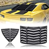 CUMART Rear+Side Window Louvers Sun Shade Windshield Cover Matte Black Compatible with Chevrolet Chevy Camaro 2010 2011 2012