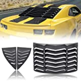 CUMART Rear+Side Window Louvers Sun Shade Windshield Cover Matte Black Compatible with Chevrolet Chevy Camaro 2010 2011…