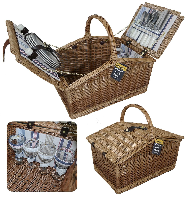 Marko Outdoor Tilbrook 4Personen Picknickkorb Food Hamper Twin Deckel Luxus