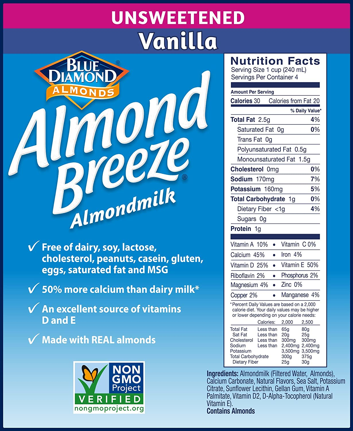 Almond Breeze Unsweetened Chocolate Nutrition
