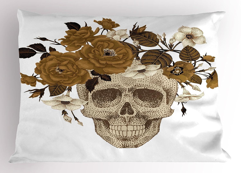 ... cabeza de esqueleto con hojas de flores banda para la cabeza arte dibujo, decorativo impreso funda de almohada tamaño estándar, color dorado, ...