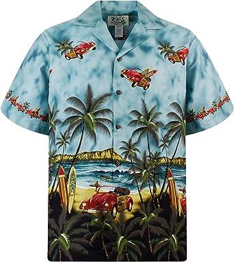 KYs | Original Camisa Hawaiana Caballeros | S - 6XL | Manga Corta | Bolsillo Delantero | Estampado Hawaiano | Escarabajo volador verde: Amazon.es: Ropa y accesorios